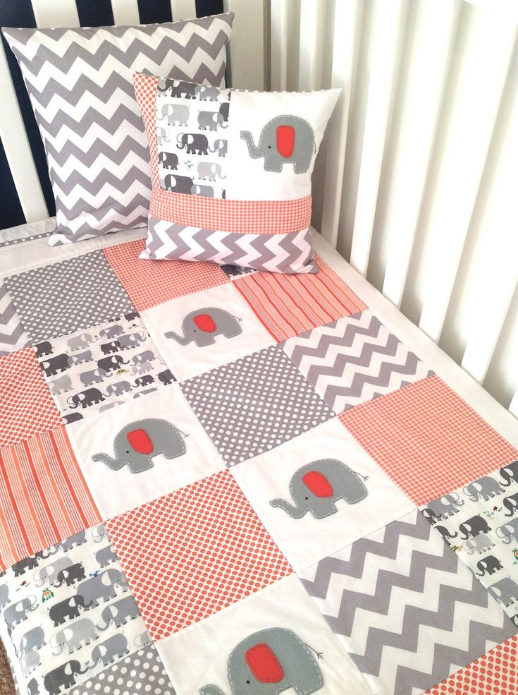 elephant baby quilts   Elephant Baby Crib Quilt and Pillow in Orange and Gray.....Ready to ...