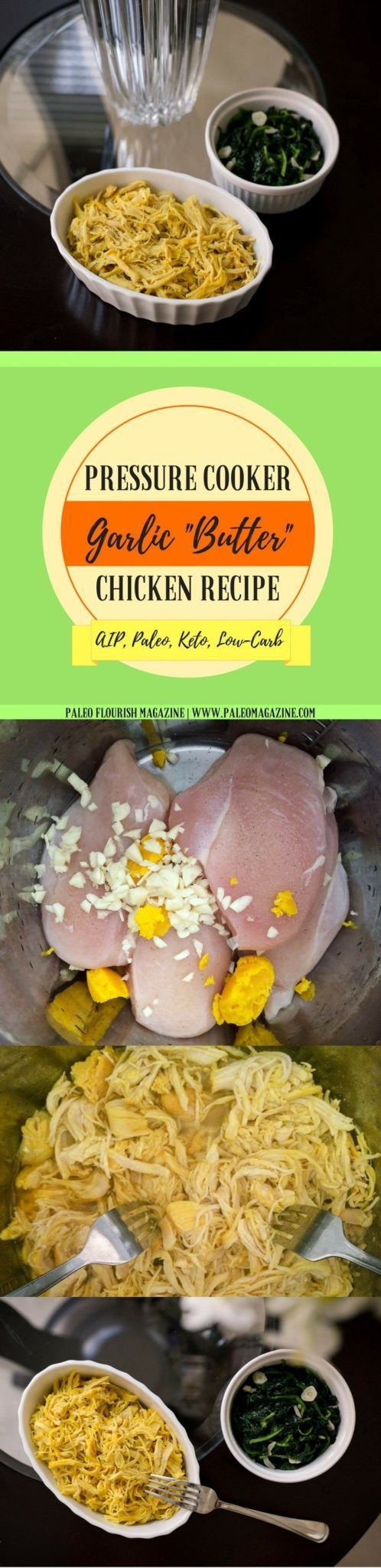 "Pinterest Image for Pressure Cooker Garlic ""Butter"" Chicken Recipe [AIP, Paleo, Keto, Low-Carb] #paleo #recipes #glutenfree https://paleomagazine.com/keto-pressure-cooker-garlic-butter-chicken-recipe"