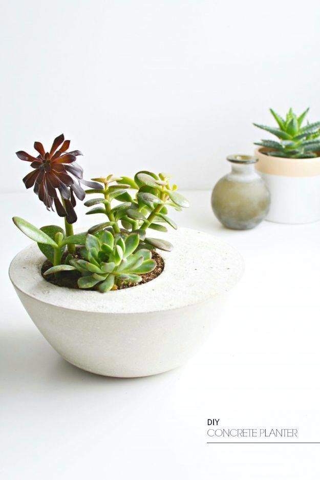 DIY Hacks for Renters – DIY Concrete Table Planter – Easy Ways to Decorate and Fix Things on Rental Property – Decorate Walls, Cheap Ideas for Making …