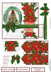 Christmas Poinsettias Bookmark Pocket Card Front