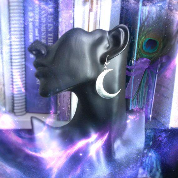 Pendientes Luna, para regulares o estiradas orejas, bruja, boho, venden por par