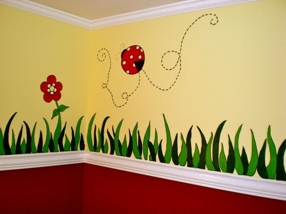 Ladybugs, Hand painted details for the Ladybug Nursery (before furnishings were put in), hand painted grass and ladybugs for the nursery. , ...