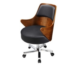 Curve office Walnut and black leather arm chair