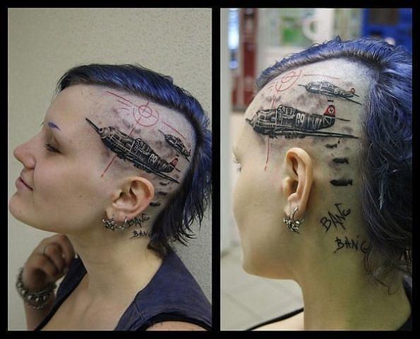 Interesting Warplanes Tattoo on the Woman Head. Warplanes bombing. Bang bang..