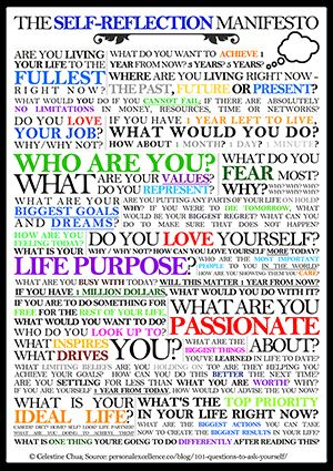 The Self-Reflection Manifesto-an amazing list of questions to ask yourself when developing your homeschooling mission statement/manifesto.