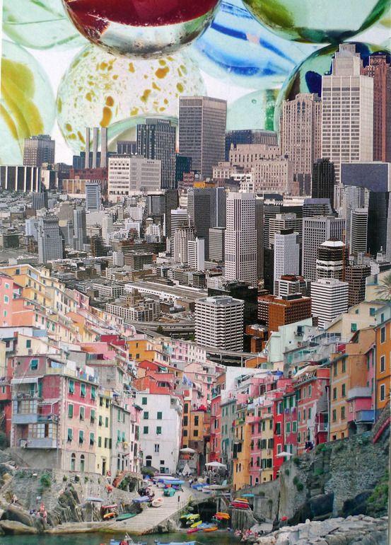"""Saatchi Online Artist Denis Schäfer; Assemblage / Collage, """"Stadt 53 - MEGAURBANPOLIS"""" #architecture>"""