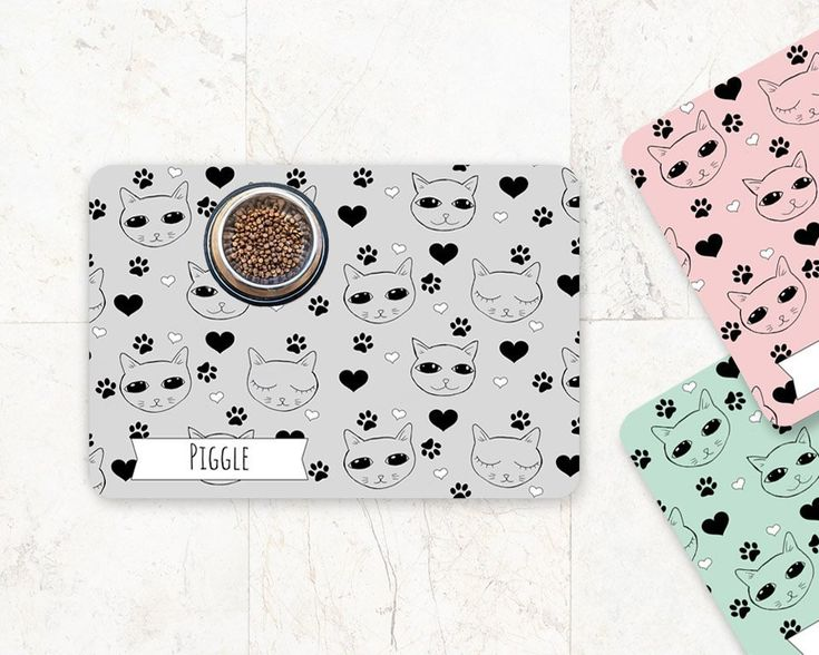 Cute cat mat for food bowls 3 color options personalized