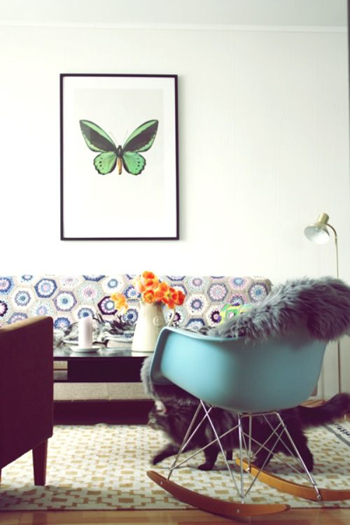 Fauteuil bascule rocking chair bleu oc an eames for Eames fauteuil bascule