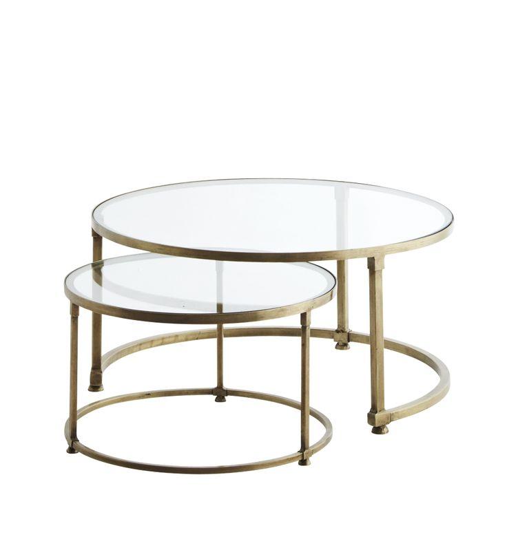 Soffbord / satsbord i glas och mässing från danska Madam Stoltz. Beställ dansk inredning här. Välkommen.