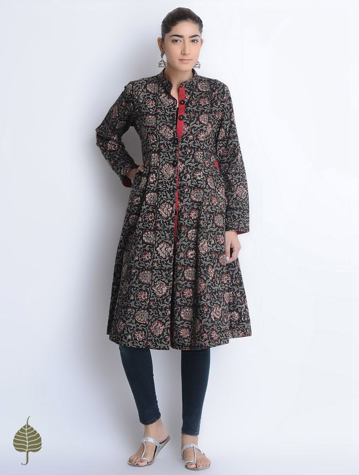 Buy Black-Red-Grey Natural Dyed Bagru Printed Button Down Cotton Dress/Jacket by Jaypore Online at Jaypore.com