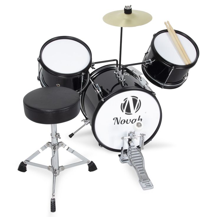 Black Drum Set 3 Piece Junior Complete Child Kids Kit With Stool Sticks Seat NEW