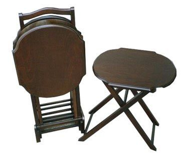 Adrasant Walnut Wood Folding TV Tray Table Set of 4 Round Corner Coffee Table Model