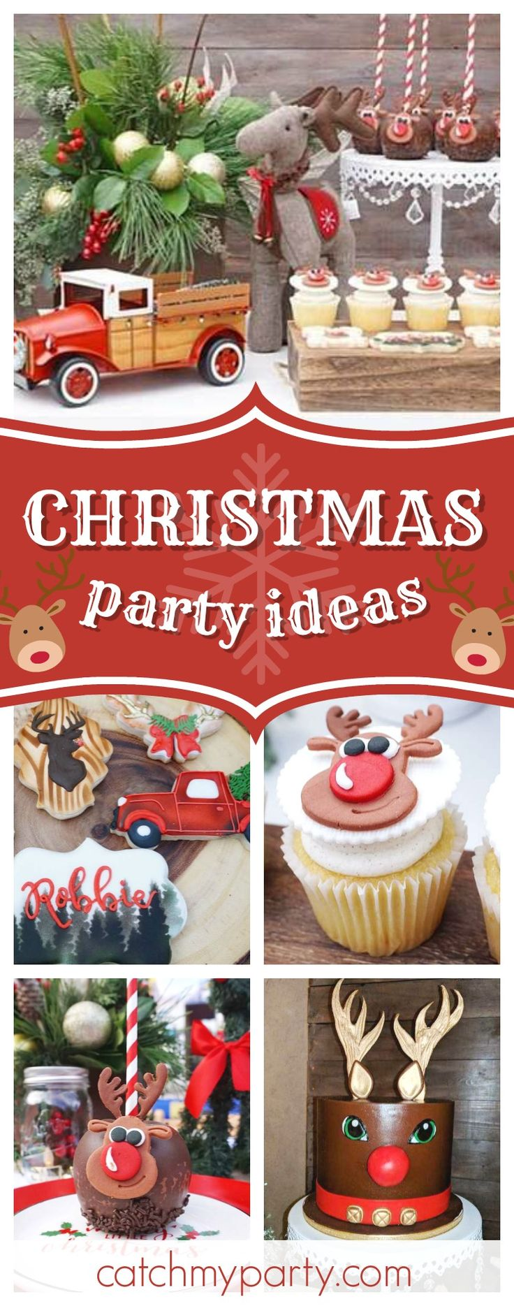 Take a look at this awesome Rudolph the Red-Nosed Reindeer Christmas Party! The cake pops are so cute!! See more party ideas and share yours at CatchMyParty.com #christmas #holiday #reindeer #rudolph