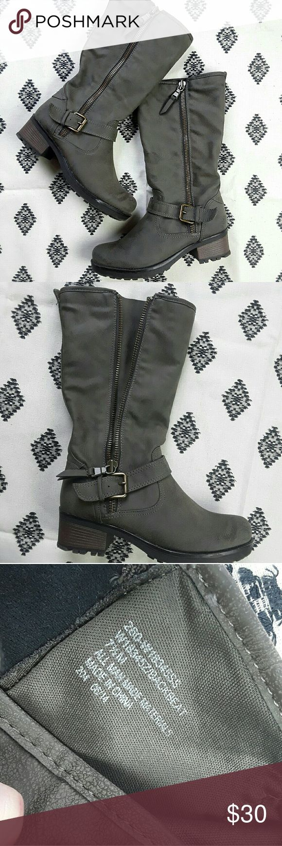 White Mountain Stone Boots 7.5M White Mountain Stone Color Tall boots size 7 1/2 M, excellent condition very small scuff on side of soul please see pics white mountain  Shoes Winter & Rain Boots