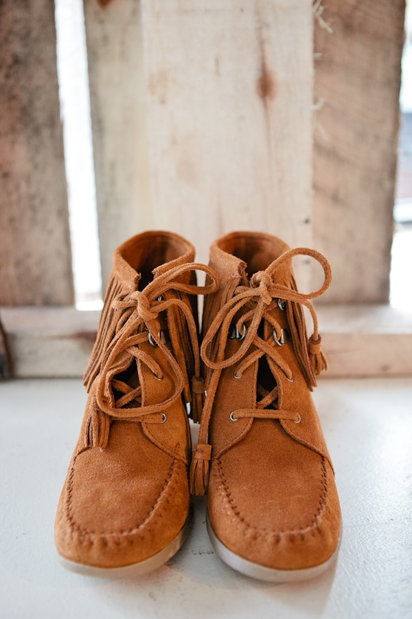 Minnetonka Brown Lace-Up Fringe Boot
