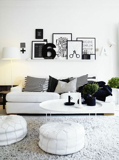 graphic black and white living rooms