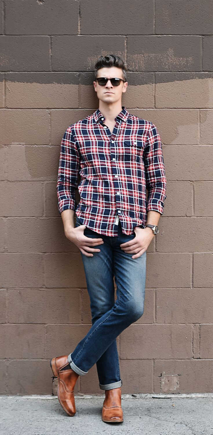 Men's Fashion button down plaid shirt with medium washed rolled denim paired with tan handmade BEDSTU boots.