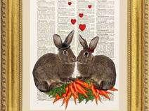Coniglio illustrazione, stampa, pagina dizionario