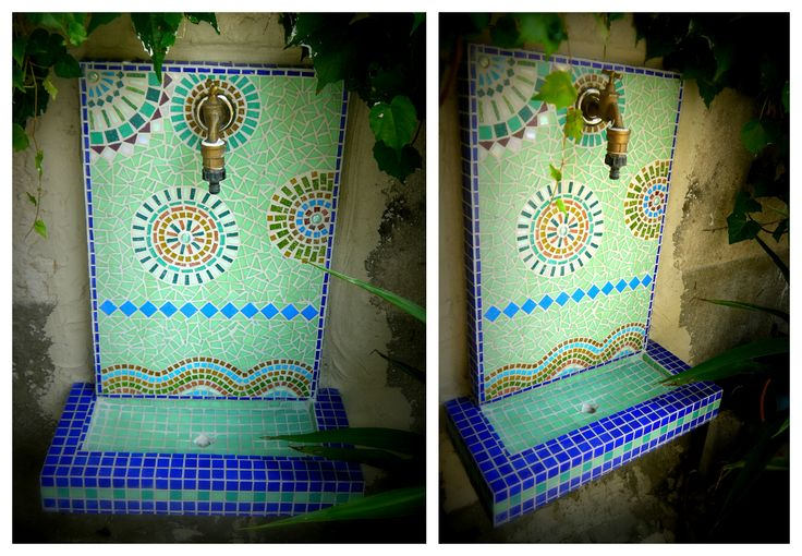 Ytongból épített, mozaikkal díszített falikút Dringing fountain built up by Ytong and decorated with glass mosaic.