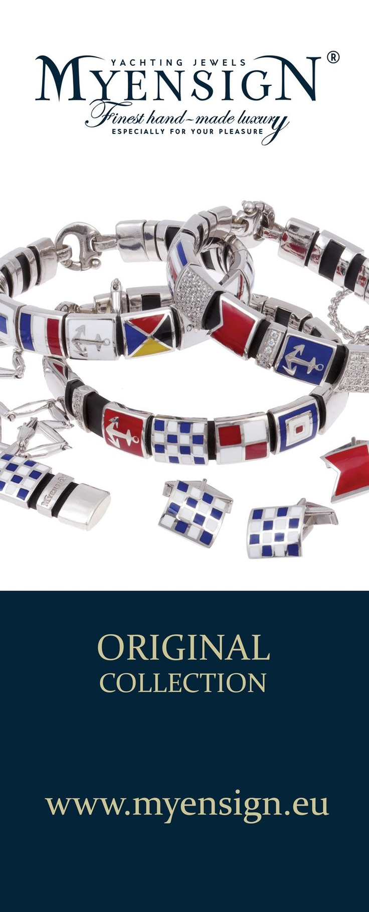 MyEnsign Yachting Jewels Original Collection   www.myensign.eu  #Yachting #Sailing #Jewelry #Jewels Nautical jewelry based on nautical flags made of gold with diamonds, using the highest quality enamel technology.