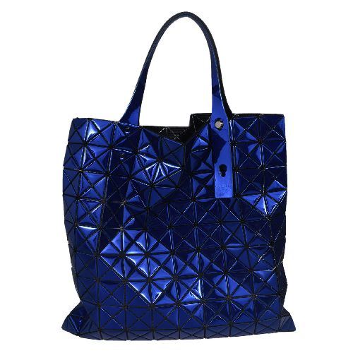 Lucent Prism Shopper Bag from Bao Bao Issey Miyake: Blue Lucent Prism Shopper Bag with zipped pocket insider, triangular panel construction, adjustable handle length and metallic reflective finish