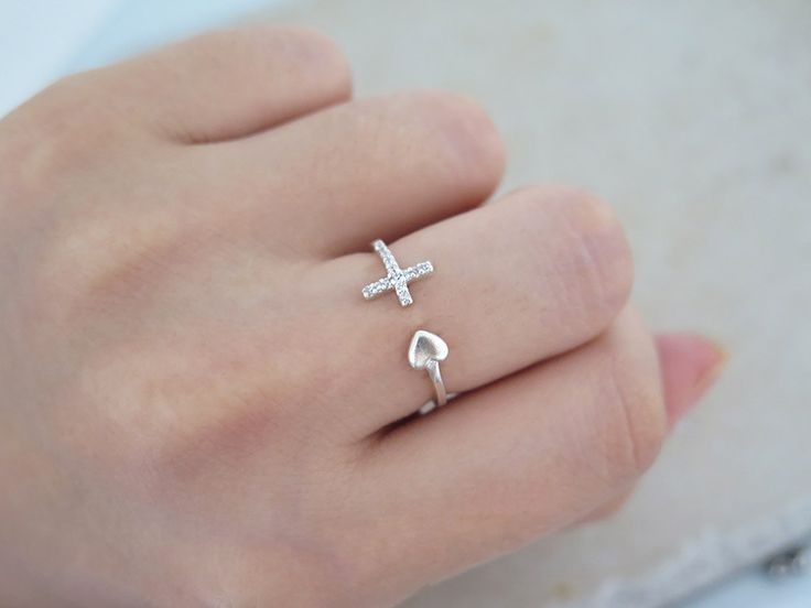 Cross and heart ring/Adjustable ring/Sterling silver open ring/Cross silver ring/Heart silver ring/Delicate ring/Ring with gift box/Rings by MinimalBijoux on Etsy
