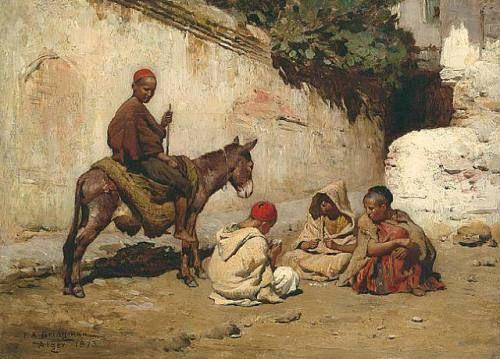 Arab Children Playing Cards-Frederick Arthur BRIDGMAN (1847-1928)