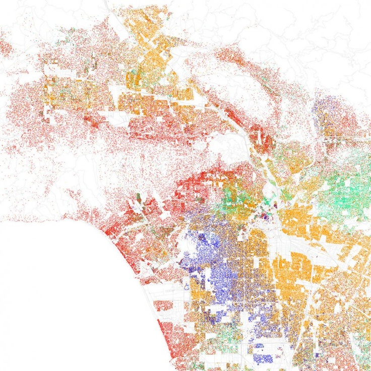 21 Maps Of Highly Segregated Cities In America: Reality check: racial segregation is still extreme in most major American metropolis regions. Professors John Logan and Brian Stult at Brown and Florida State break it down in these visualizations. LOS ANGELES, Calif. — White people cling to the coast around Santa Monica and Brentwood, and the north side of the city beginning with the Hollywood Hills.