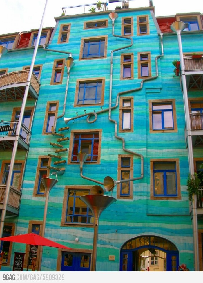 A wall that plays music when it rains.