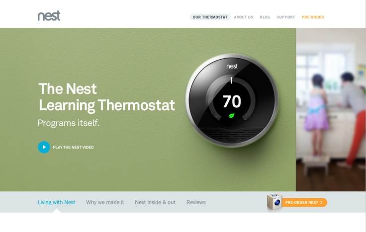 """Theme: Simple, smart design. The Nest Thermostat. Intuitive. Learns your habits and adjusts the temp accordingly - """"cool factor"""", """"easy, fun factor""""."""