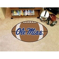 College football floor mat. This Ole Miss Rebels football shaped rug is 21 x 32 inches. Mat is chrome jet printed, allowing full penetration of the color down the entire tuft of the high luster nylon