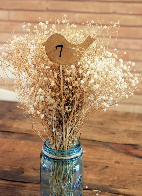 1 - 10 wood bird table number on a stick . table number wedding centerpieces . wooden bird numbers .  woodland wedding numbers on Etsy, $27.00