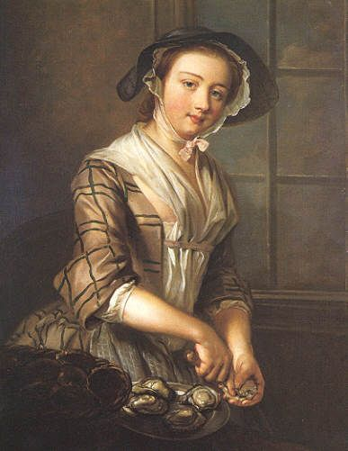 The Oyster Girl, 1756, by Philip Mercier (Berlin 1689/91-1760 London) 1750's short gown plaid print and wide cuffs. White linen fichu, linen cap with hat. Christies