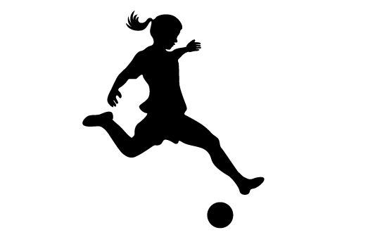 Girls playing soccer silhouette vector | cards | Girl ...