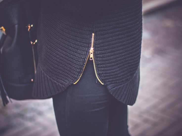 knit jumper with zipper. Via GREY & SCOUT