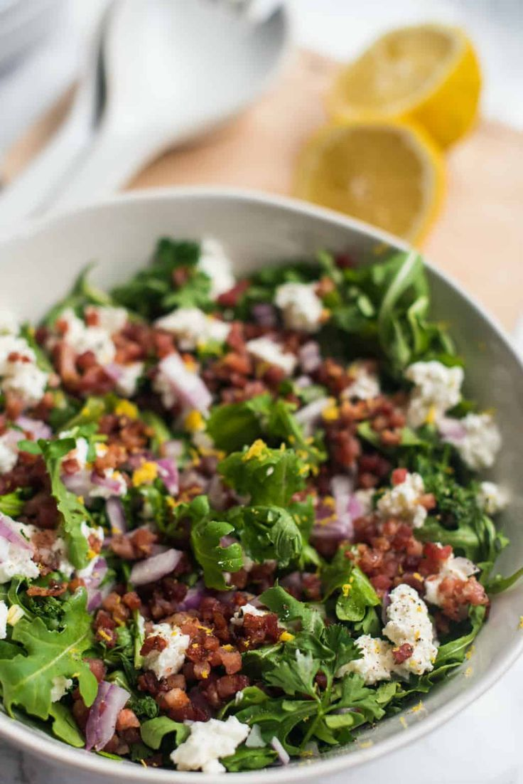 Entree Ideas For Dinner Party Part - 50: ... Tasty Green Salad Made With Arugula, Goat Cheese, And Crunchy Pancetta.  If Youu0027re Looking For Arugula Salad Recipes, Serve This As One For A Main  Dish ...