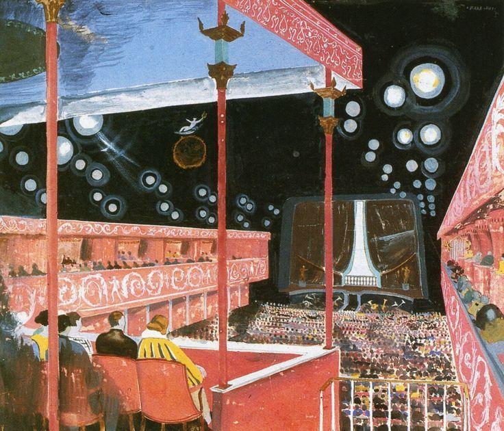 Illustration of Skandia movie theatre by Gunnar Asplund. Built in Stockholm, 1923.: