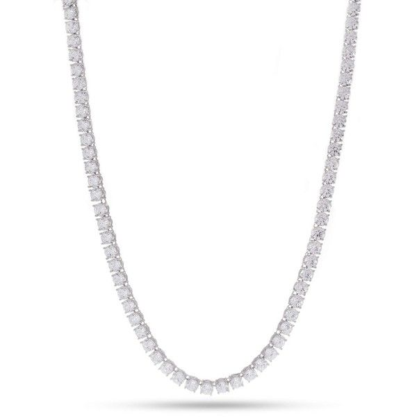 Forever21 King Ice White Gold CZ Necklace ($58) ❤ liked on Polyvore featuring men's fashion, men's jewelry, men's necklaces, silver, mens chain necklace, mens white gold necklace and mens white gold chain necklace
