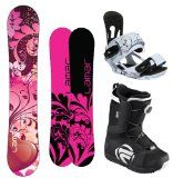 Women's Snowboard Packages < $350 | Pink snowboard package includes Lamar Essence board, Flow Vega Boa boots and Head Velvet bindings. Equipment designed for easy in-and-out, so there's less work on the slopes. #snowboardpackages #pinksnowboard