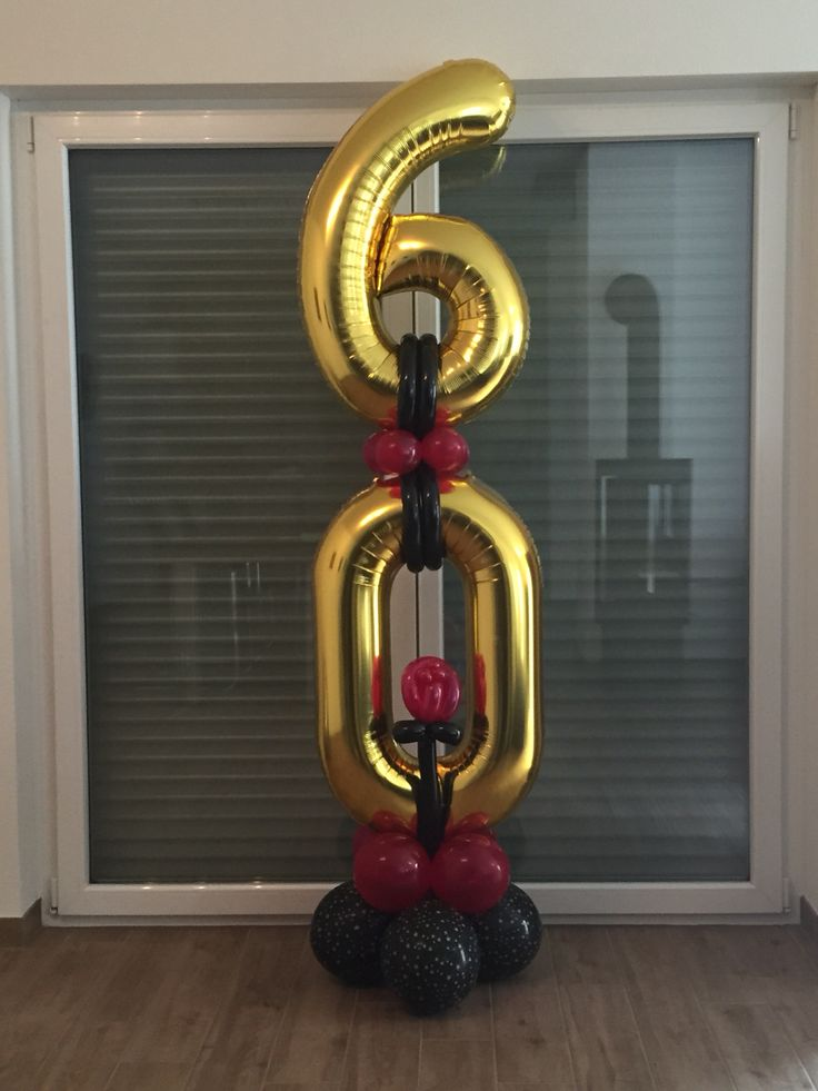 60th Birthday Party Balloon Column black, gold, and magenta  The Ballooners