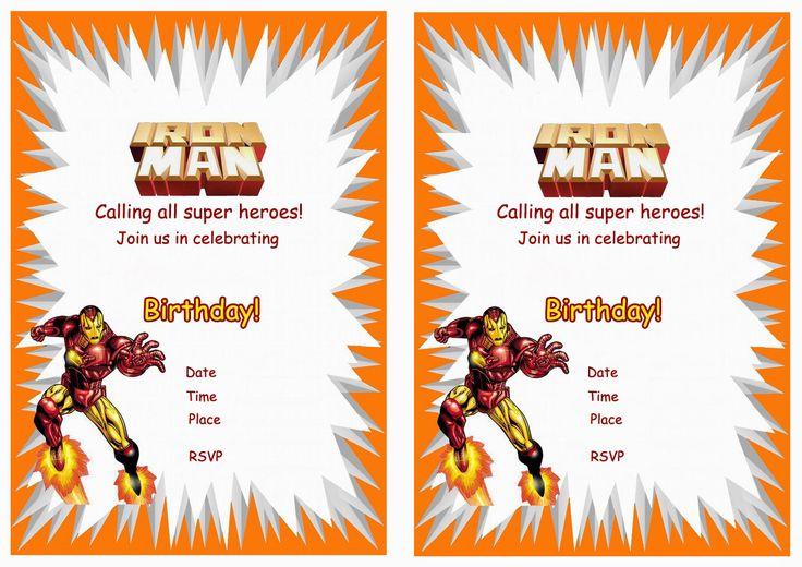 Iron Man FREE Printable Birthday Party Invitations