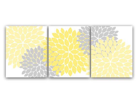 Home Decor Wall Art Yellow And Gray Flower Burst Art Bathroom Wall Decor