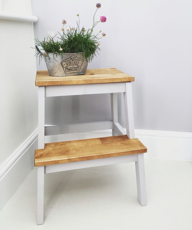My IKEA Hack of a Bekväm Step Stool! Painted in Dulux Chic Shadow & the tops…