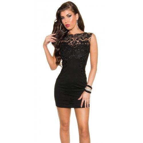 22387IN Μίντι Φόρεμα με μαύρη δαντέλα Μαύρο