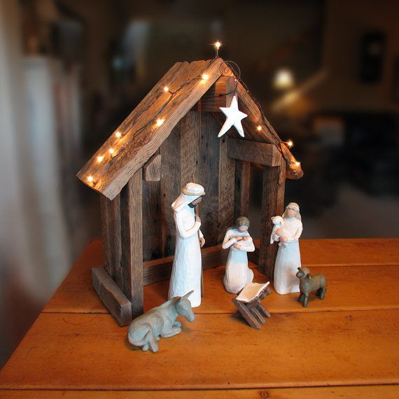 Tall Nativity enough for willow tree, and woodsy - Creche Stable Reclaimed Barnwood  For by SilverHollyLLC, $75.00