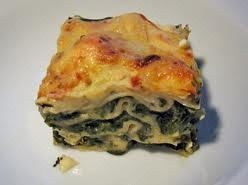 Lasagne with spinach, various vegetables and lots of cheese