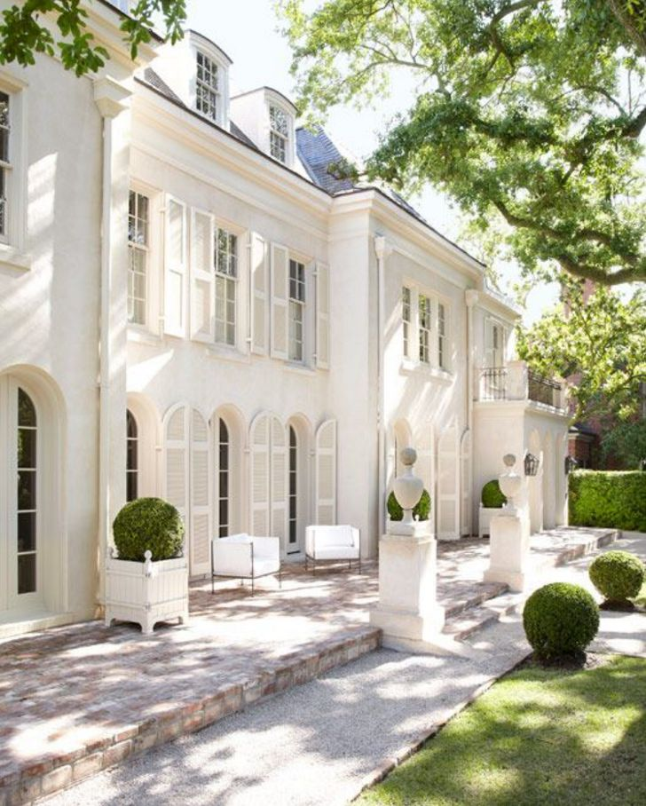 French Style House Exterior   White Home Decorating Ideas   Room Design  Interior