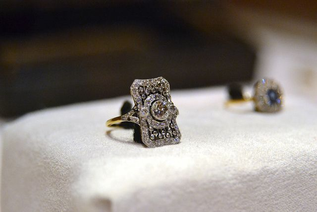 """Titanic Artifacts    Filigree Ring with Diamonds comprised of 18K yellow gold and platinum. It is set with multiple small diamonds and is engraved """"L to A 6.9.10""""."""