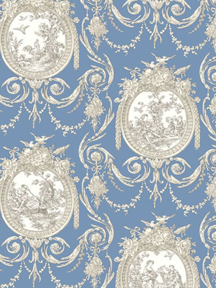 Cameo Toile   Shand Kydd Wallpapers   A Pretty Navy Blue And Cream Toile  Design Depicted Within Stylised Frames. Please Request A Sample For True  Colour ...