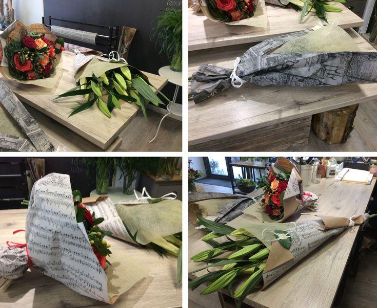 """Merci à Bokidi fleurs à Lorient pour le partage de ses créations avec nos papiers kraft """"rétro-chic"""" et """"partition"""" !"""